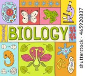 biology hand drawn colorful... | Shutterstock .eps vector #465920837