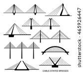 set of nine stylized bridges....   Shutterstock .eps vector #465926447