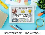 advertising concept on tablet... | Shutterstock . vector #465939563