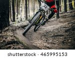 cyclist mountainbiker rides in... | Shutterstock . vector #465995153