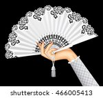 female hand with open white... | Shutterstock .eps vector #466005413
