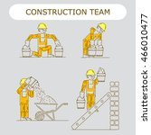 worker building icon. work logo ... | Shutterstock .eps vector #466010477