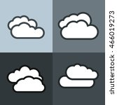 white flat cloud icons on color ...