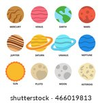 planet icon set. planets with... | Shutterstock .eps vector #466019813