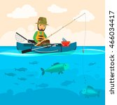 fisherman on a boat vector...
