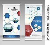 blue business roll up banner... | Shutterstock .eps vector #466035533
