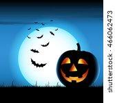 grinning pumpkin with bats on... | Shutterstock .eps vector #466062473