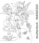 outlined beautiful fairy... | Shutterstock .eps vector #466065263