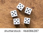 white dice on wooden background.... | Shutterstock . vector #466086287