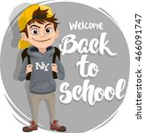 back to school text lettering... | Shutterstock .eps vector #466091747