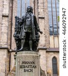 Small photo of High dynamic range HDR The Neues Bach Denkmal meaning new Bach monument stands since 1908 in front of the St Thomas Kirche church where Johann Sebastian Bach is buried in Leipzig Germany