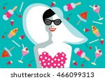 happy woman laughing  with cake ... | Shutterstock .eps vector #466099313