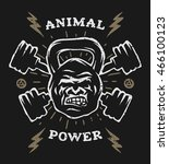 two barbell and head gorilla... | Shutterstock . vector #466100123