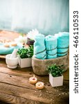 spa and wellness setting with... | Shutterstock . vector #466110533