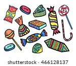funny set of brightly colored... | Shutterstock .eps vector #466128137