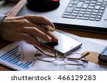 businessman working on laptop... | Shutterstock . vector #466129283