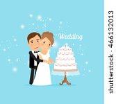 bride and groom with wedding... | Shutterstock .eps vector #466132013