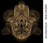 hand drawn ornate amulet hamsa... | Shutterstock .eps vector #466134383