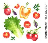 watercolor vegetables set with... | Shutterstock . vector #466137317