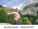beautiful young woman outdoors... | Shutterstock . vector #466144157