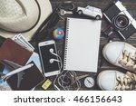 overhead view of traveler's... | Shutterstock . vector #466156643