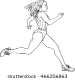 female running athlete  outline