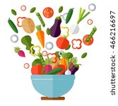 fresh vegetables salad vector... | Shutterstock .eps vector #466216697