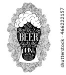 glass of beer with hand drawn... | Shutterstock .eps vector #466222157