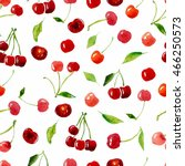 cherry watercolor seamless... | Shutterstock . vector #466250573