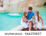 family with touristic map near... | Shutterstock . vector #466250837