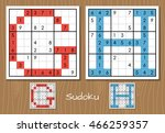sudoku vector set with answers. ... | Shutterstock .eps vector #466259357