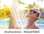 young woman refreshing in... | Shutterstock . vector #466269683