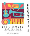 live music poster design with... | Shutterstock .eps vector #466330973
