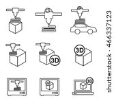 out line 3d printer icons...
