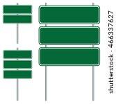 blank green road sign design... | Shutterstock .eps vector #466337627