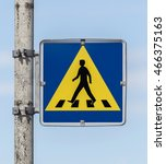 Small photo of Vintage pedestrian transit traffic sign in Iceland (abandoned USAF air base)