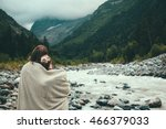 man and woman wrapped in warm... | Shutterstock . vector #466379033