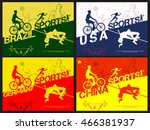set of four creative poster or... | Shutterstock .eps vector #466381937