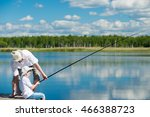 dad teaches his son on the... | Shutterstock . vector #466388723
