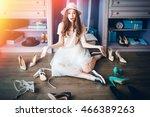 young pensive beautiful girl... | Shutterstock . vector #466389263