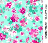watercolor floral seamless... | Shutterstock . vector #466395653