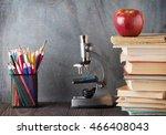microscope  pencils  books and