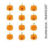 vector halloween pumpkin  icons ...   Shutterstock .eps vector #466432187