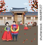 a couple dressed in korean... | Shutterstock .eps vector #466489157