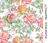 seamless pattern with roses.... | Shutterstock . vector #466490177