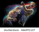 two fighting man  aggressive... | Shutterstock . vector #466491137