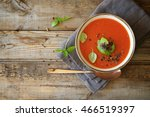 tomato soup on wooden table ... | Shutterstock . vector #466519397