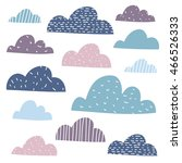 collection of cute funny clouds ... | Shutterstock .eps vector #466526333