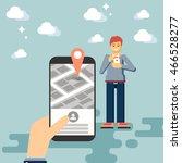 hand holding mobile phone flat... | Shutterstock .eps vector #466528277