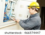electrician connecting... | Shutterstock . vector #466574447